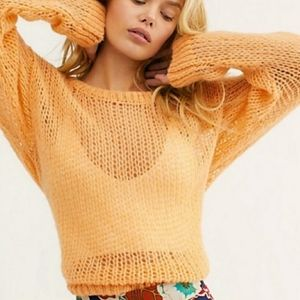 Free People Fluffy Crew Sweater Alpaca Blend sz S